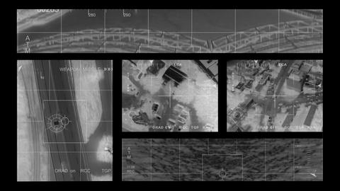 Infrared Helicopter Multi Screen stock footage