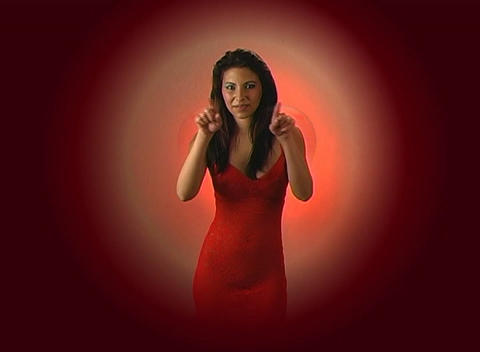 Beautiful Young Woman In Red Blows A Kiss With A Graphic Heart 2 stock footage