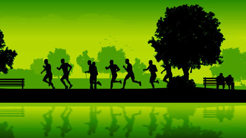Marathon runners. Silhouettes of running people Animation