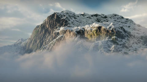 (1144) Snow Mountain Winter Wilderness Clouds Clim Animation