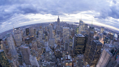 Wide Angle View Of The Manhattan Skyline From The  stock footage