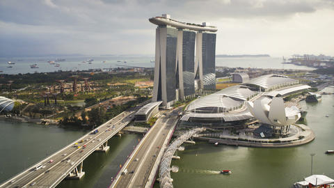 The Artscience Museum, Helix Bridge And Marina Bay stock footage