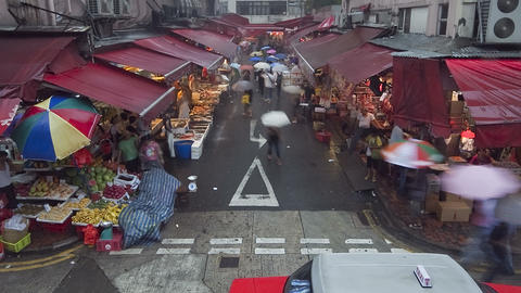 China, Hong Kong, Central, busy street market on a Footage