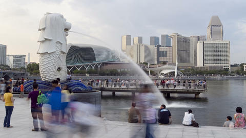 Singapore, Merlion Fountain, Esplanade in backgrou Footage