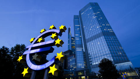 CU ZO MS Euro Sign At European Central Bank, Frank stock footage