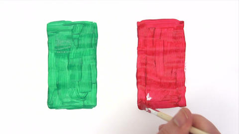 Painting Italian Flag - Time Lapse stock footage