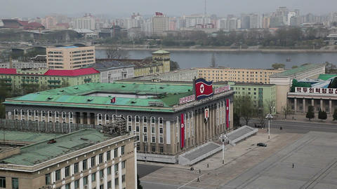 Pyongyang, elevated view across Kim Il Sung Square Footage