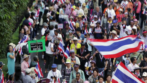 Thai people protest in Bangkok Footage