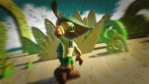 Fuleco Mascot 2014 FIFA World Cup Brazil stock footage