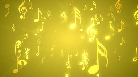 Musical Notes Gold - Music Themed Video Background stock footage