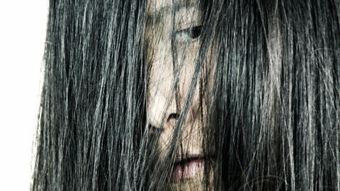 Scary face of asian woman appearing horror movie Footage