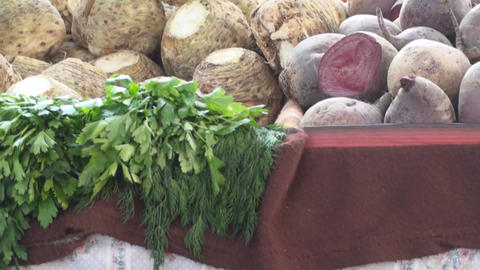 Vegetables On A Stand In A Market Tilt-Shot stock footage