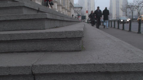 Concrete Stairs Macro And People Walking By stock footage