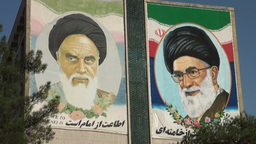 Mural Depicts Supreme Leaders Iran stock footage
