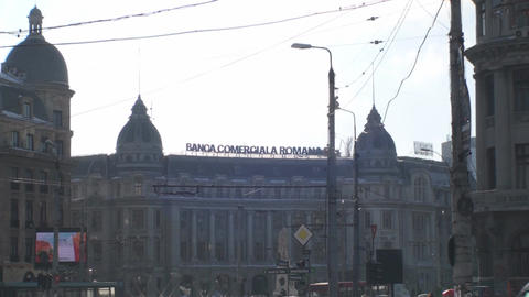 Commercial Bank Of Romania With Traffic Still-Shot stock footage