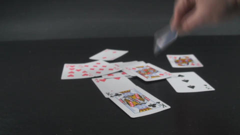 Hand Putting Cards On A Table Point Of View-Shot stock footage