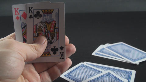 Hand Giving 3 Cards To The Dealer Point Of View-Sh stock footage