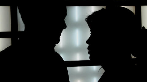 Silhouettes Of Lovers stock footage