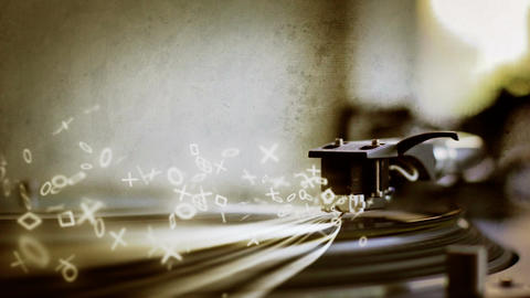 Turntable Generating Drum Notes And Light Streaks stock footage