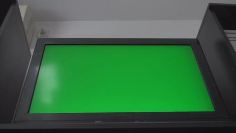 HDTV With A Green Screen, Chroma, Key, Low Angle S stock footage