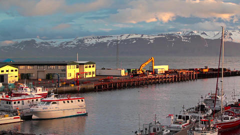 Boat Anchored At A Harbor On Iceland stock footage