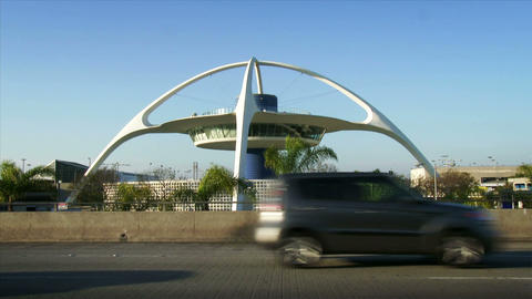 Theme Building At Los Angeles Airport, LAX stock footage