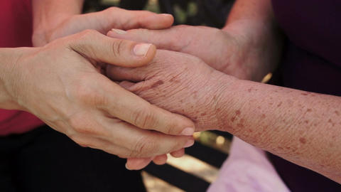 Holding Older Woman Hands Dolly stock footage