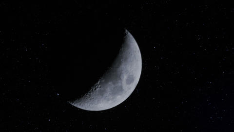 waxing moon w stars time lapse 11337 Footage