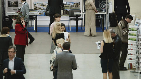 People traffic at real estate exhibition Footage