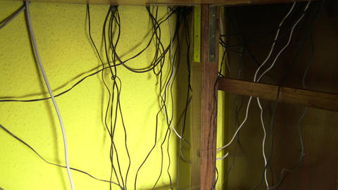 Electrtic Cables Mess 1 Pan stock footage