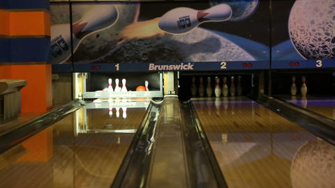 Bowling - Ball Knocks Down Pins stock footage