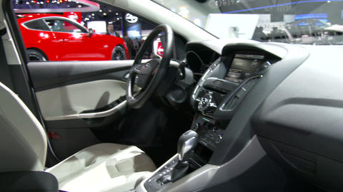 Interiors Of The New Ford Focus At The New York In stock footage