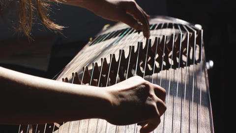 Guzheng Playing 02 stock footage