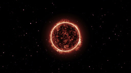 Surface of the Sun. Space fly around Animation