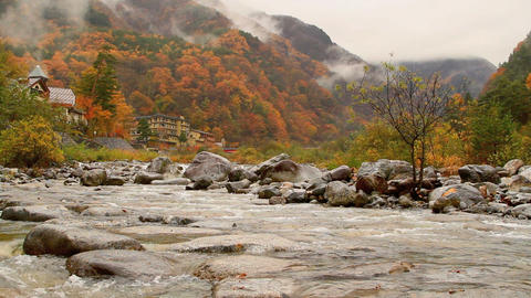 Autumn. Mountain Hotel On The Banks Of The River stock footage
