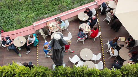 Cafe On The Balcony. View From Above stock footage