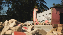 Earthquake Haiti Rubble Dolly Shot Tight stock footage