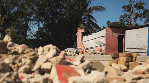 Earthquake Haiti Rubble Dolly Shot stock footage
