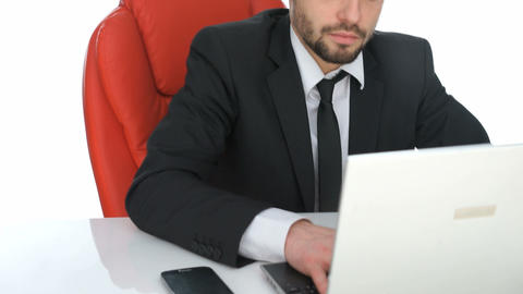 Hardworking Businessman Sitting At His Desk stock footage