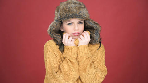 Beautiful Young Woman Suffering From The Cold stock footage