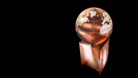 Rotating globe award on black background Animation