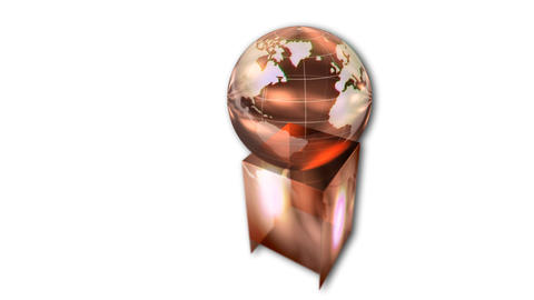 Rotating globe award on white background Animation