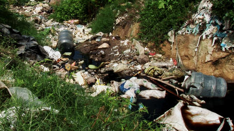 Pull Out of Dump Rubbish Favela Footage