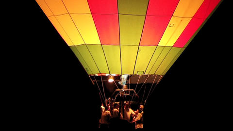Hot Air Balloon Glowing stock footage
