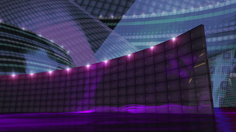 Disco virtual set stage purple Animation