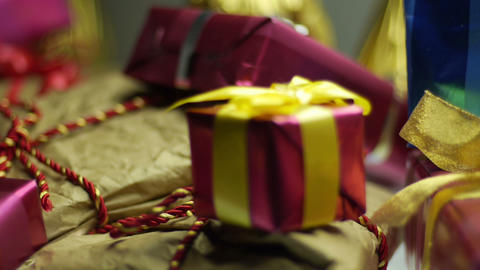 Gift Boxes Smooth Horizontal Tracking stock footage