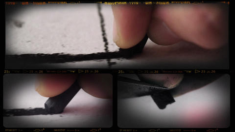 Collage of Charcoal Drawing Macro Footage