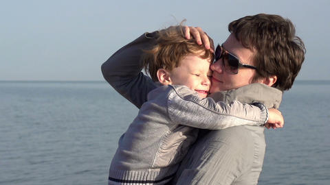Mom And Young Son stock footage