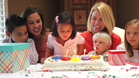 Family Celebrating Daughters Birthday stock footage