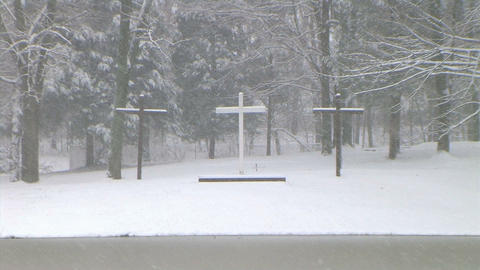 Crosses In Snow Zoom Out stock footage